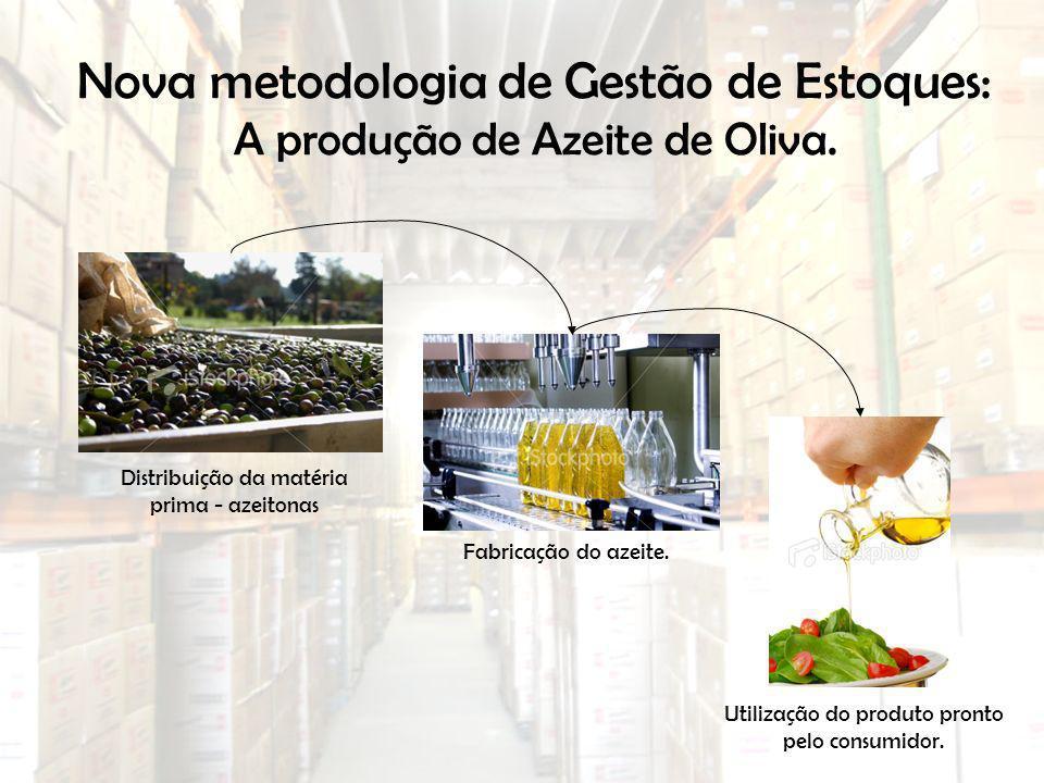 Nova metodologia de Gestão de Estoques: A produção de Azeite de Oliva. Distribuição da matéria prima - azeitonas Fabricação do azeite. Utilização do p