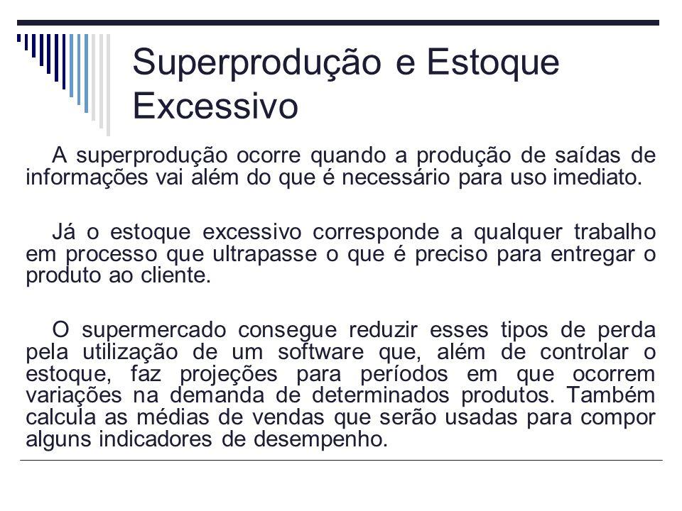 Superprodução e Estoque Excessivo A superprodução ocorre quando a produção de saídas de informações vai além do que é necessário para uso imediato. Já