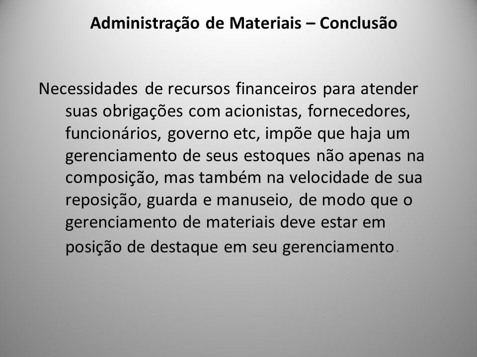Administração de Materiais – Conclusão 10 Necessidades de recursos financeiros para atender suas obrigações com acionistas, fornecedores, funcionários