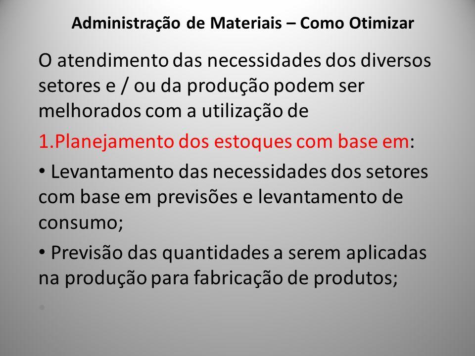 Administração de Materiais – Como Otimizar 4 O atendimento das necessidades dos diversos setores e / ou da produção podem ser melhorados com a utiliza