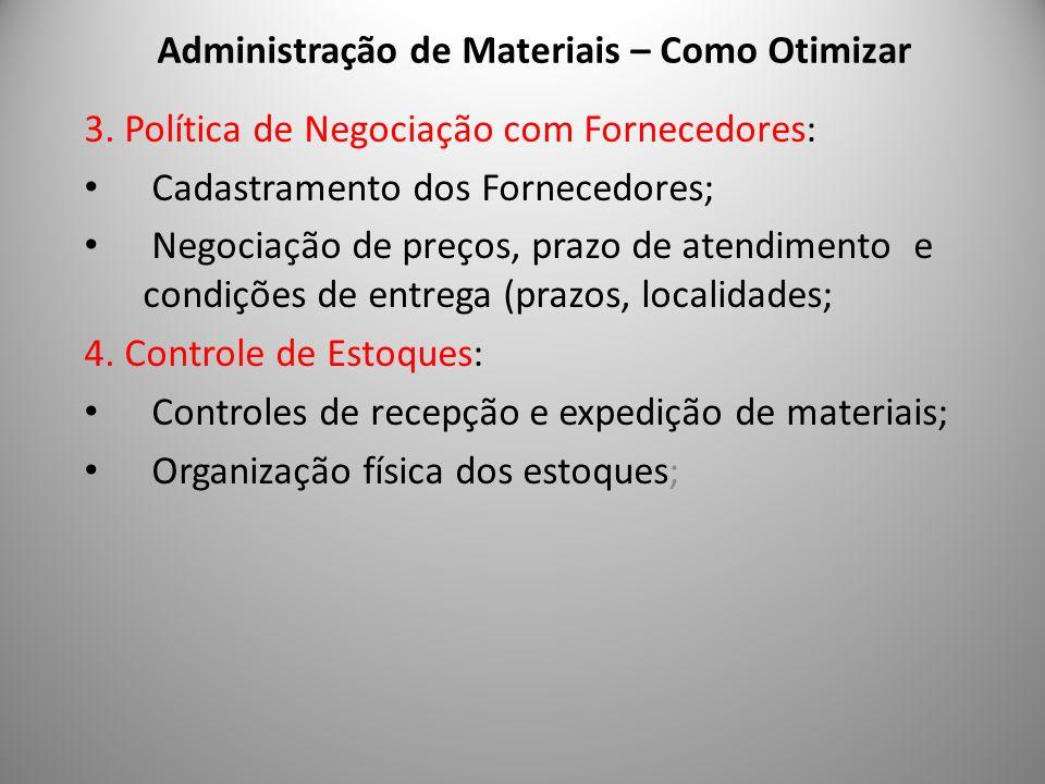 Administração de Materiais – Como Otimizar 6 3. Política de Negociação com Fornecedores: Cadastramento dos Fornecedores; Negociação de preços, prazo d