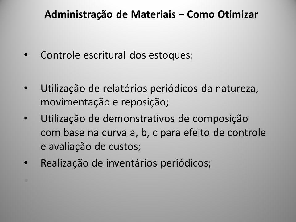 Administração de Materiais – Como Otimizar 7 Controle escritural dos estoques; Utilização de relatórios periódicos da natureza, movimentação e reposiç