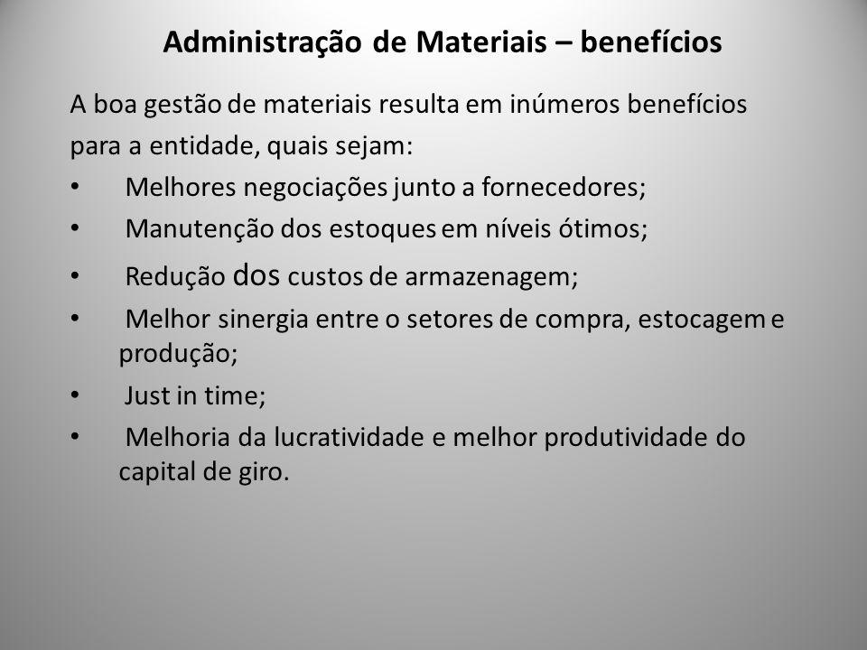 Administração de Materiais – benefícios 8 A boa gestão de materiais resulta em inúmeros benefícios para a entidade, quais sejam: Melhores negociações