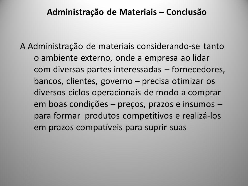 Administração de Materiais – Conclusão 9 A Administração de materiais considerando-se tanto o ambiente externo, onde a empresa ao lidar com diversas p