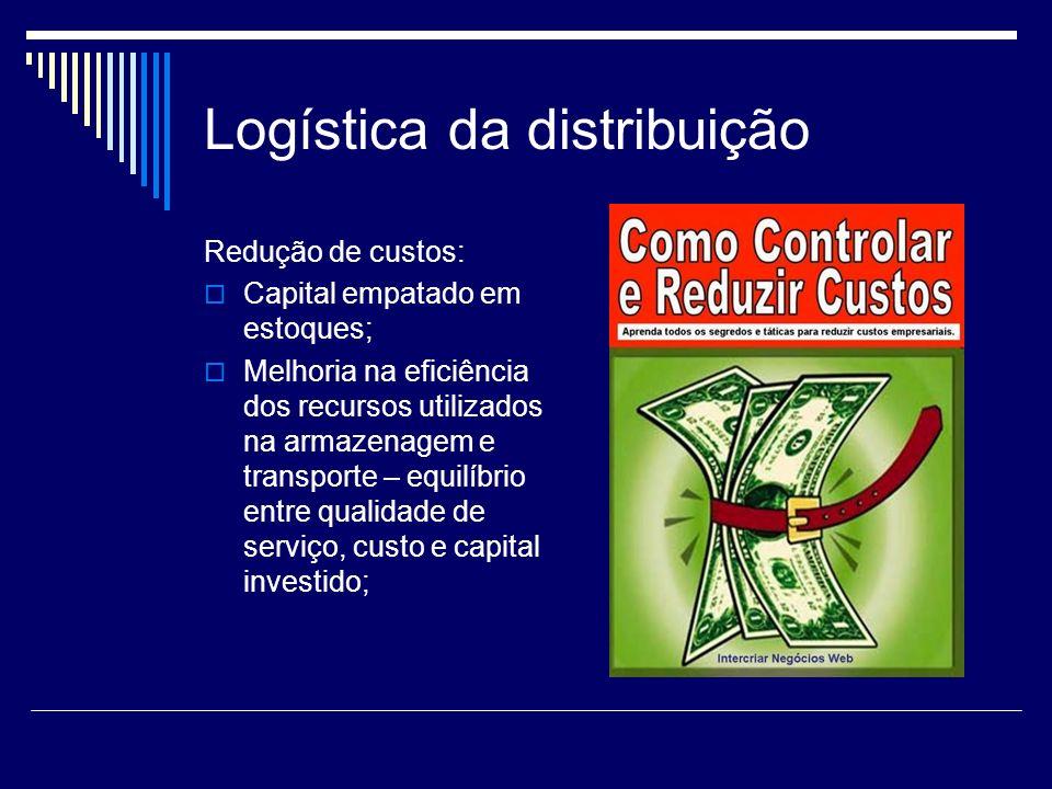 Logística da distribuição Redução de custos: Capital empatado em estoques; Melhoria na eficiência dos recursos utilizados na armazenagem e transporte