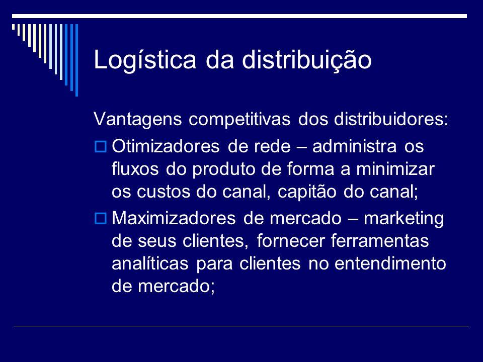 Logística da distribuição Vantagens competitivas dos distribuidores: Otimizadores de rede – administra os fluxos do produto de forma a minimizar os cu