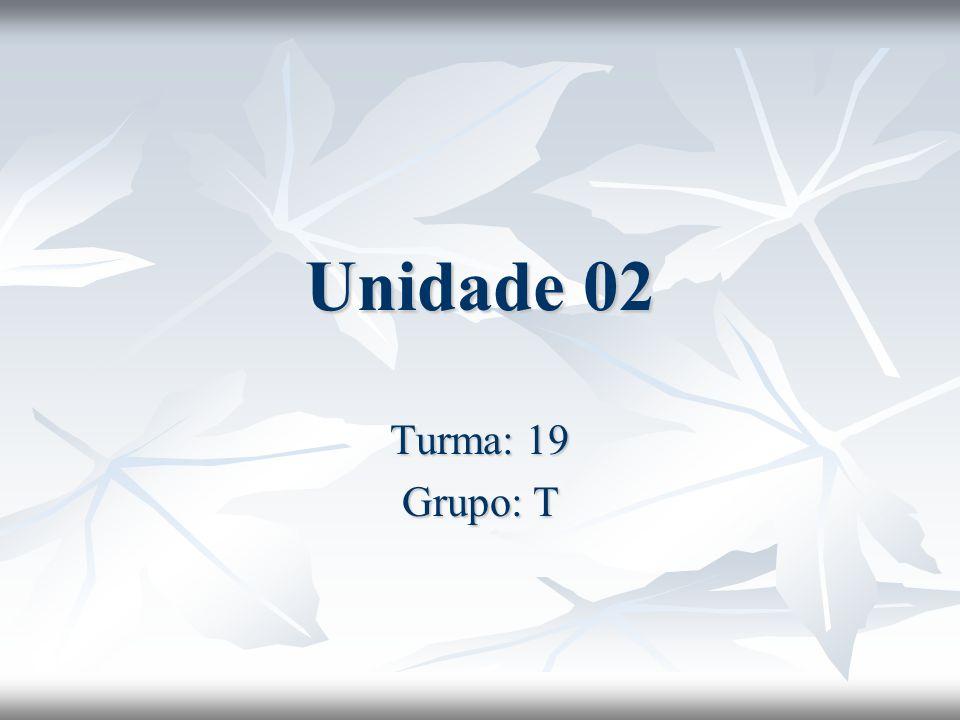 Unidade 02 Turma: 19 Grupo: T