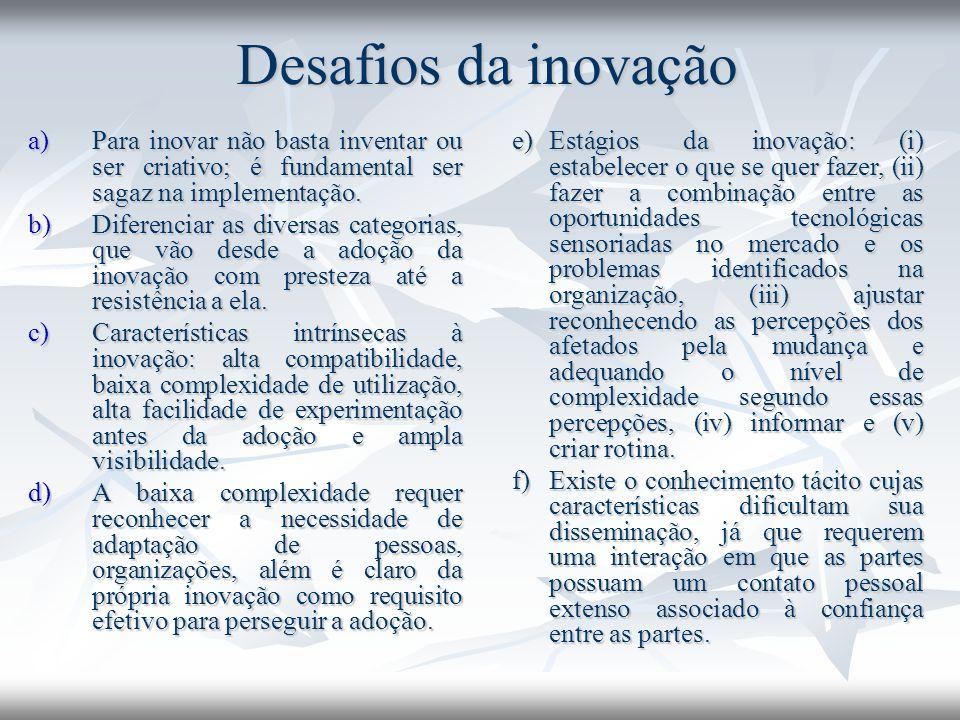 Desafios da inovação a)Para inovar não basta inventar ou ser criativo; é fundamental ser sagaz na implementação.