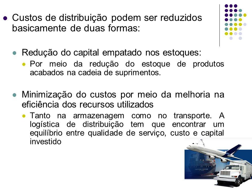 Custos de distribuição podem ser reduzidos basicamente de duas formas: Redução do capital empatado nos estoques: Por meio da redução do estoque de pro