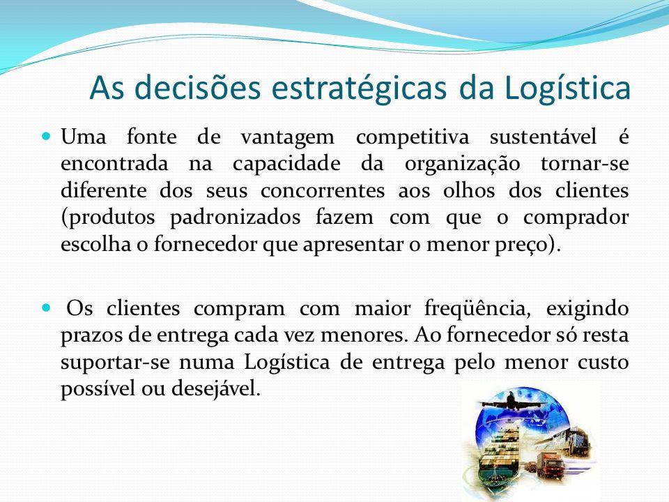 As decisões estratégicas da Logística Uma fonte de vantagem competitiva sustentável é encontrada na capacidade da organização tornar-se diferente dos