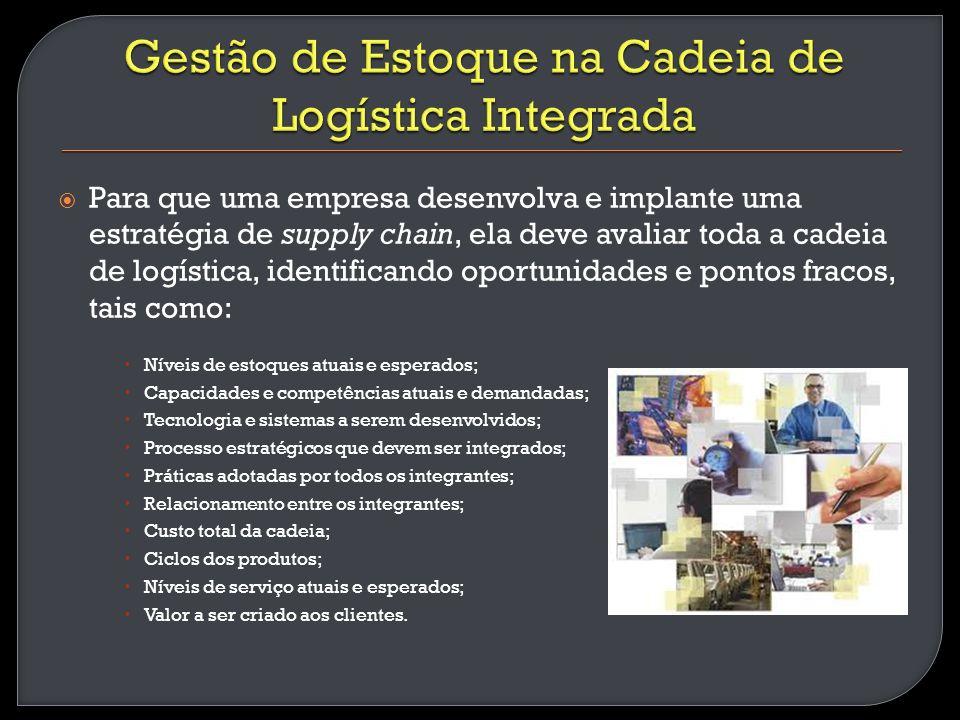 Para que uma empresa desenvolva e implante uma estratégia de supply chain, ela deve avaliar toda a cadeia de logística, identificando oportunidades e
