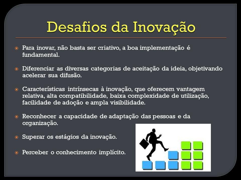 Para inovar, não basta ser criativo, a boa implementação é fundamental. Diferenciar as diversas categorias de aceitação da ideia, objetivando acelerar