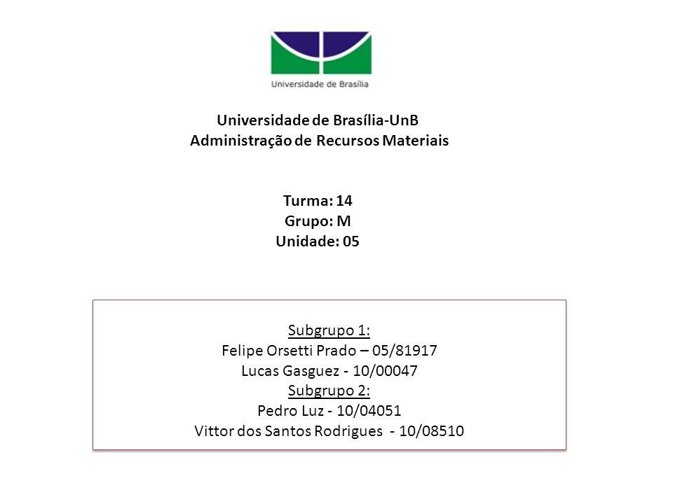 Universidade de Brasília-UnB Administração de Recursos Materiais Turma: 14 Grupo: M Unidade: 05 Subgrupo 1: Felipe Orsetti Prado – 05/81917 Lucas Gasg