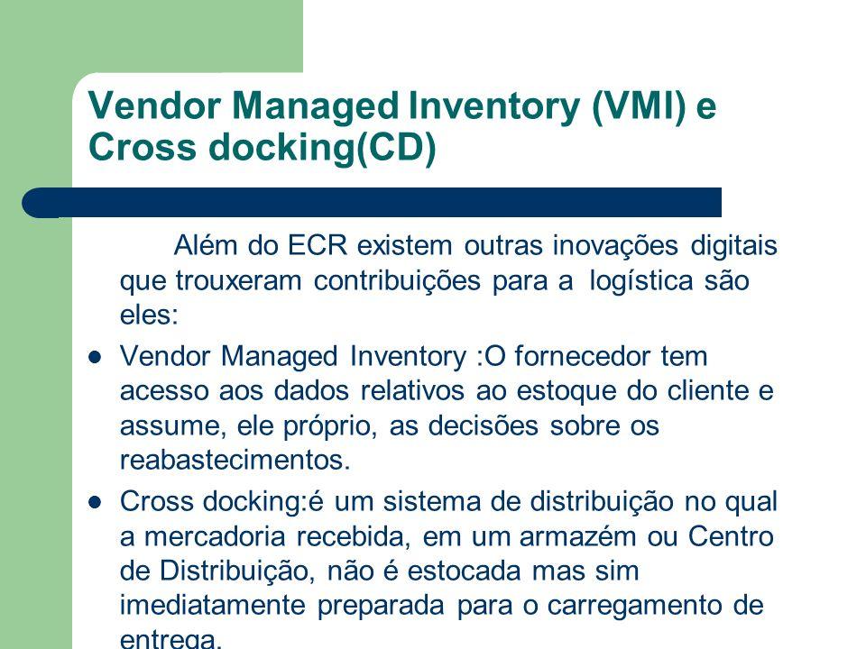 Vendor Managed Inventory (VMI) e Cross docking(CD) Além do ECR existem outras inovações digitais que trouxeram contribuições para a logística são eles