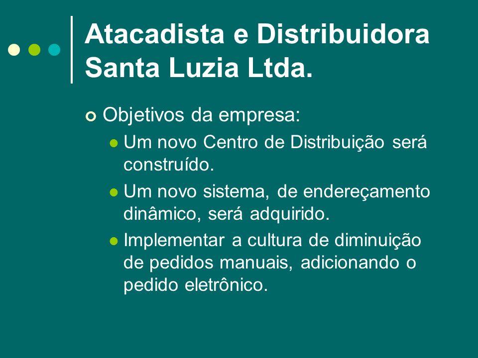 Atacadista e Distribuidora Santa Luzia Ltda. Objetivos da empresa: Um novo Centro de Distribuição será construído. Um novo sistema, de endereçamento d