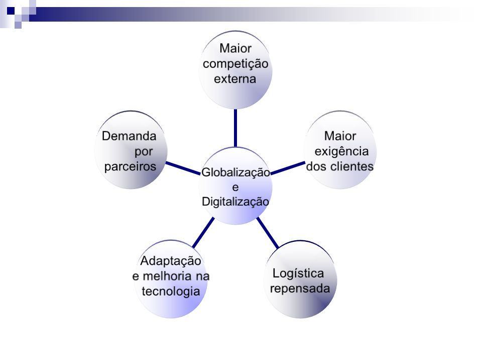 Globalização e Digitalização Maior competição externa Maior exigência dos clientes Logística repensada Adaptação e melhoria na tecnologia Demanda por