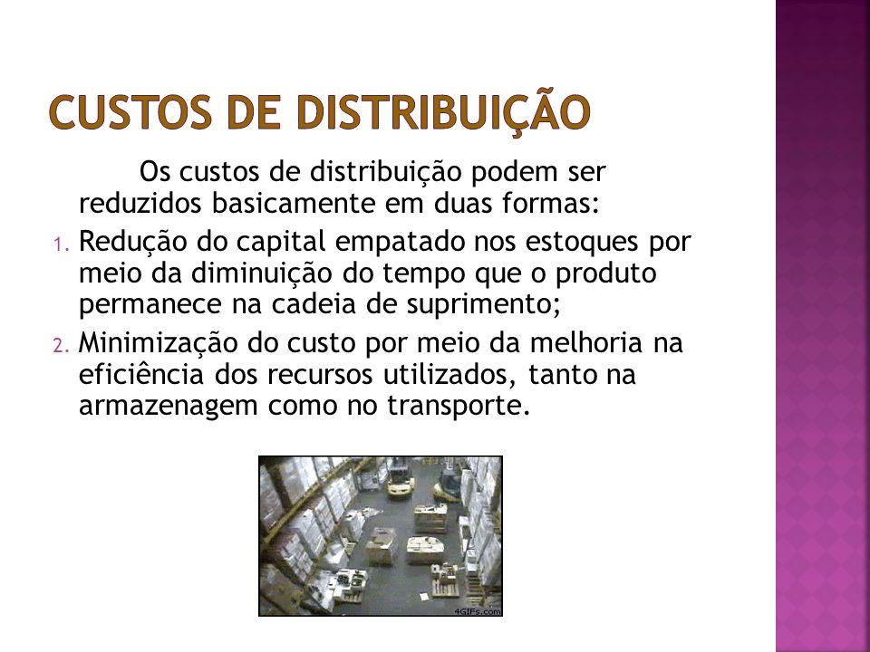Os custos de distribuição podem ser reduzidos basicamente em duas formas: 1. Redução do capital empatado nos estoques por meio da diminuição do tempo