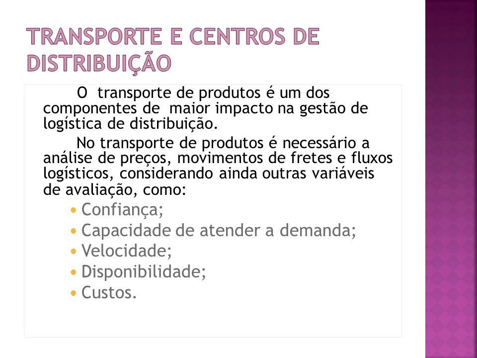 O transporte de produtos é um dos componentes de maior impacto na gestão de logística de distribuição. No transporte de produtos é necessário a anális