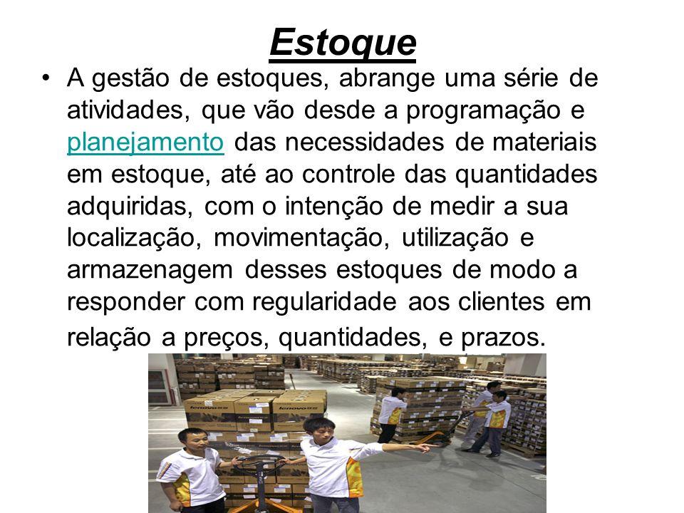 Estoque A gestão de estoques, abrange uma série de atividades, que vão desde a programação e planejamento das necessidades de materiais em estoque, at