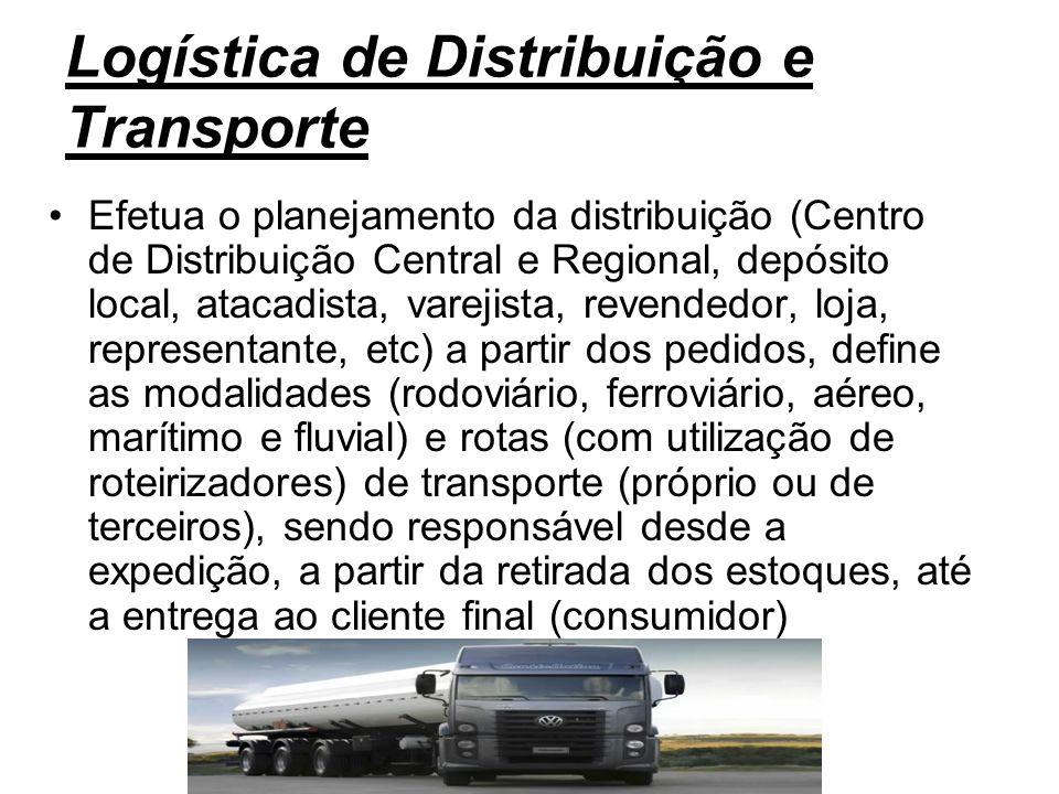 Logística de Distribuição e Transporte Efetua o planejamento da distribuição (Centro de Distribuição Central e Regional, depósito local, atacadista, v