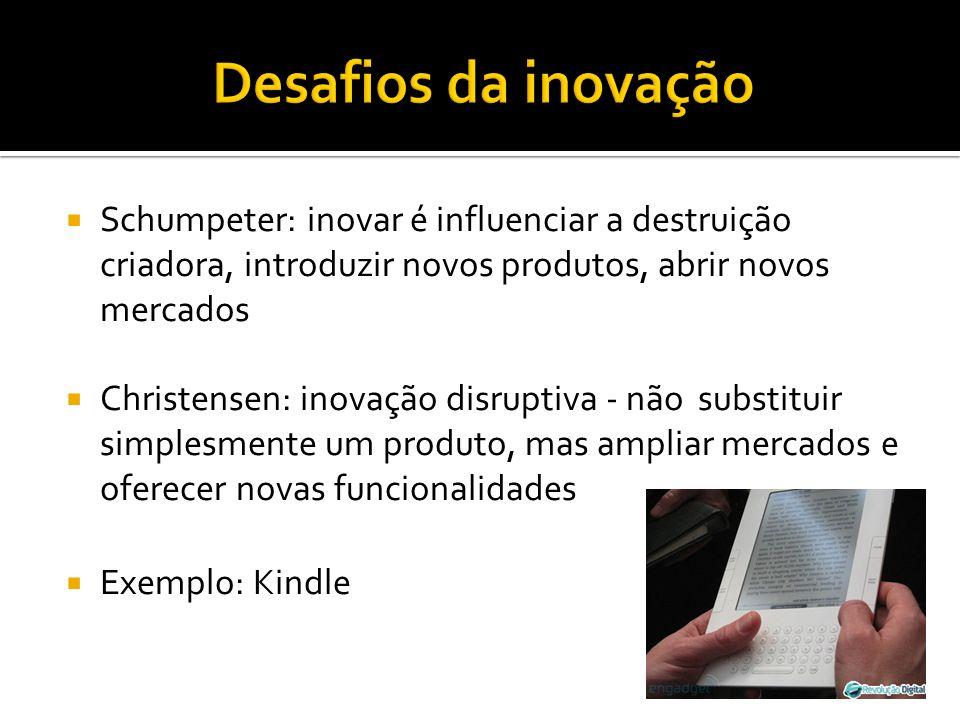 Schumpeter: inovar é influenciar a destruição criadora, introduzir novos produtos, abrir novos mercados Christensen: inovação disruptiva - não substit