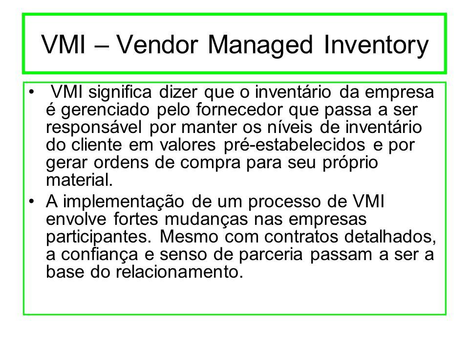 VMI – Vendor Managed Inventory VMI significa dizer que o inventário da empresa é gerenciado pelo fornecedor que passa a ser responsável por manter os