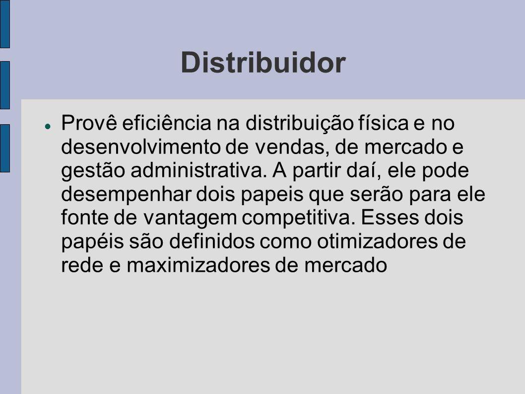 Distribuidor Provê eficiência na distribuição física e no desenvolvimento de vendas, de mercado e gestão administrativa. A partir daí, ele pode desemp