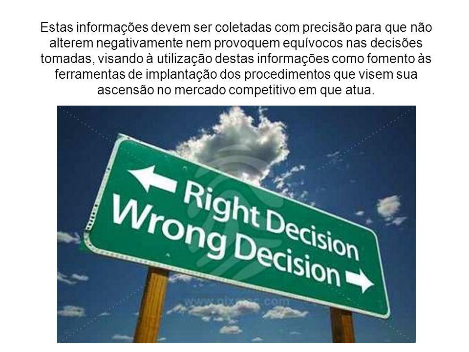 Estas informações devem ser coletadas com precisão para que não alterem negativamente nem provoquem equívocos nas decisões tomadas, visando à utilizaç