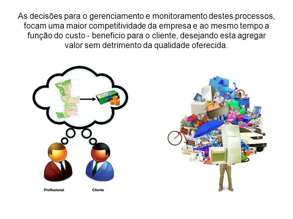 As decisões para o gerenciamento e monitoramento destes processos, focam uma maior competitividade da empresa e ao mesmo tempo a função do custo - ben