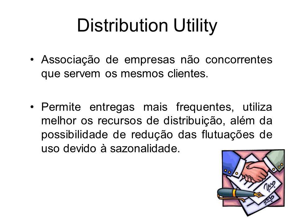 Distribution Utility Associação de empresas não concorrentes que servem os mesmos clientes. Permite entregas mais frequentes, utiliza melhor os recurs