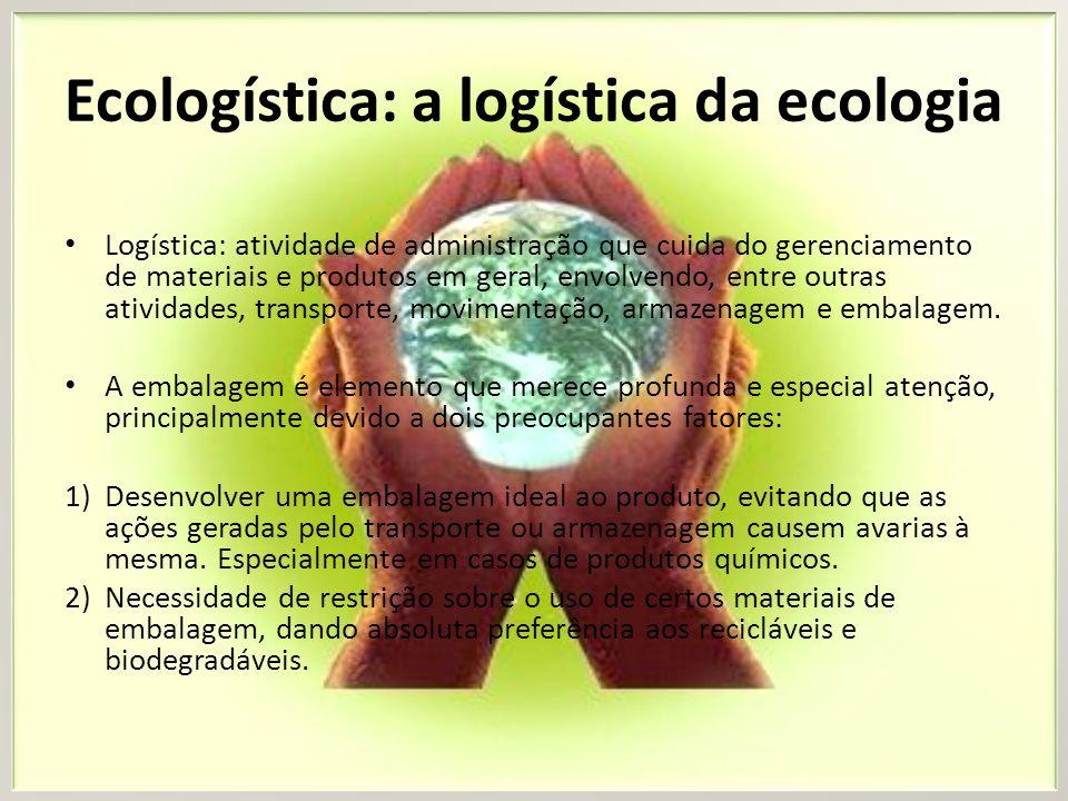 Ecologística: a logística da ecologia Logística: atividade de administração que cuida do gerenciamento de materiais e produtos em geral, envolvendo, e