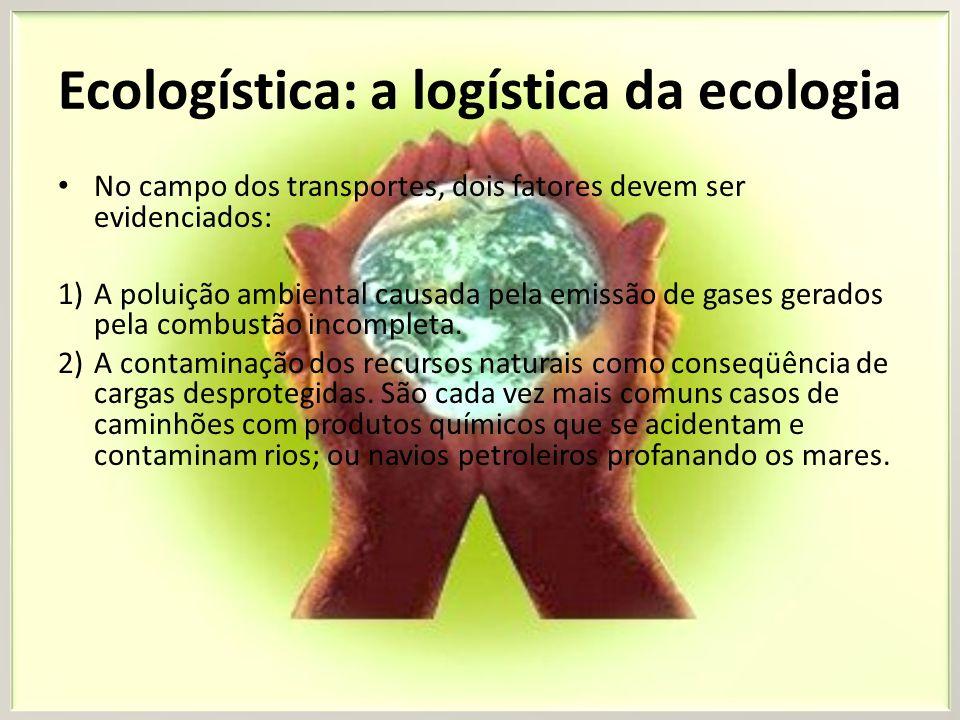 Ecologística: a logística da ecologia No campo dos transportes, dois fatores devem ser evidenciados: 1)A poluição ambiental causada pela emissão de ga