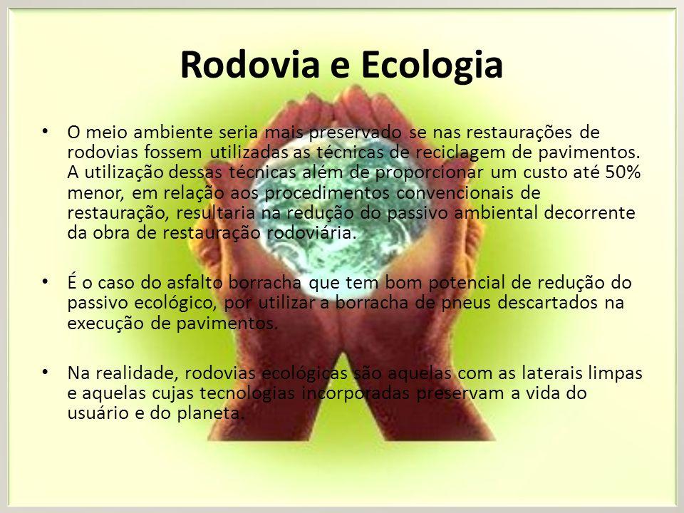 Rodovia e Ecologia O meio ambiente seria mais preservado se nas restaurações de rodovias fossem utilizadas as técnicas de reciclagem de pavimentos. A
