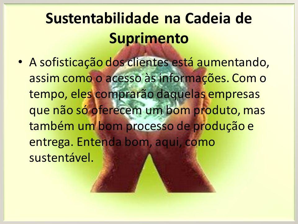 Sustentabilidade na Cadeia de Suprimento A Logistics Management de Agosto mostrou uma lista de iniciativas que foram adotadas por empresas preocupadas com o impacto ambiental causado por suas atividades.