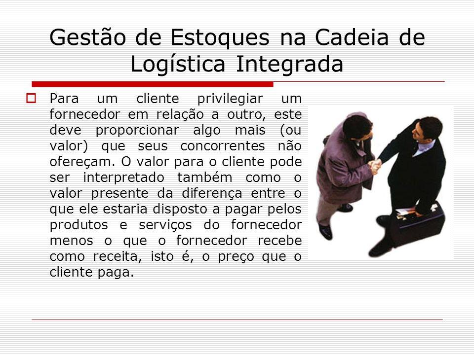 Gestão de Estoques na Cadeia de Logística Integrada Para um cliente privilegiar um fornecedor em relação a outro, este deve proporcionar algo mais (ou