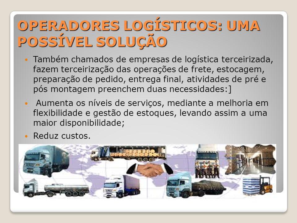 OPERADORES LOGÍSTICOS: UMA POSSÍVEL SOLUÇÃO Também chamados de empresas de logística terceirizada, fazem terceirização das operações de frete, estocag