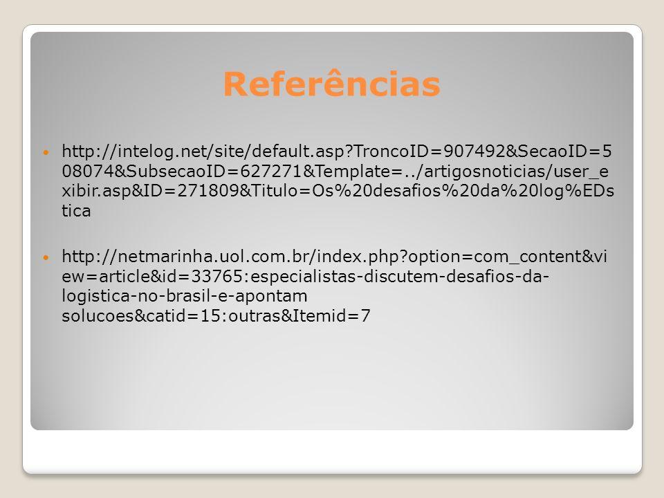 Referências http://intelog.net/site/default.asp?TroncoID=907492&SecaoID=5 08074&SubsecaoID=627271&Template=../artigosnoticias/user_e xibir.asp&ID=2718