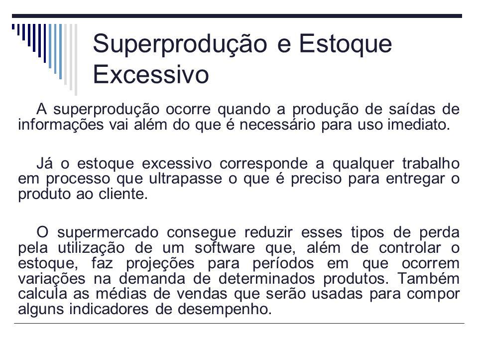 Superprodução e Estoque Excessivo A superprodução ocorre quando a produção de saídas de informações vai além do que é necessário para uso imediato.