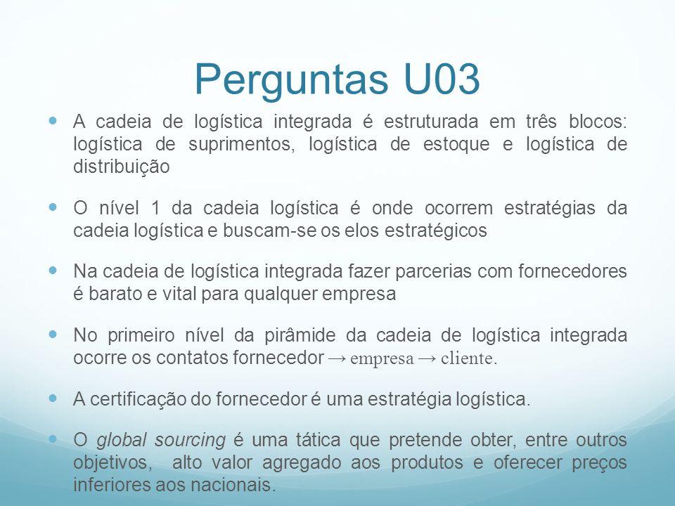 Perguntas U03 A cadeia de logística integrada é estruturada em três blocos: logística de suprimentos, logística de estoque e logística de distribuição