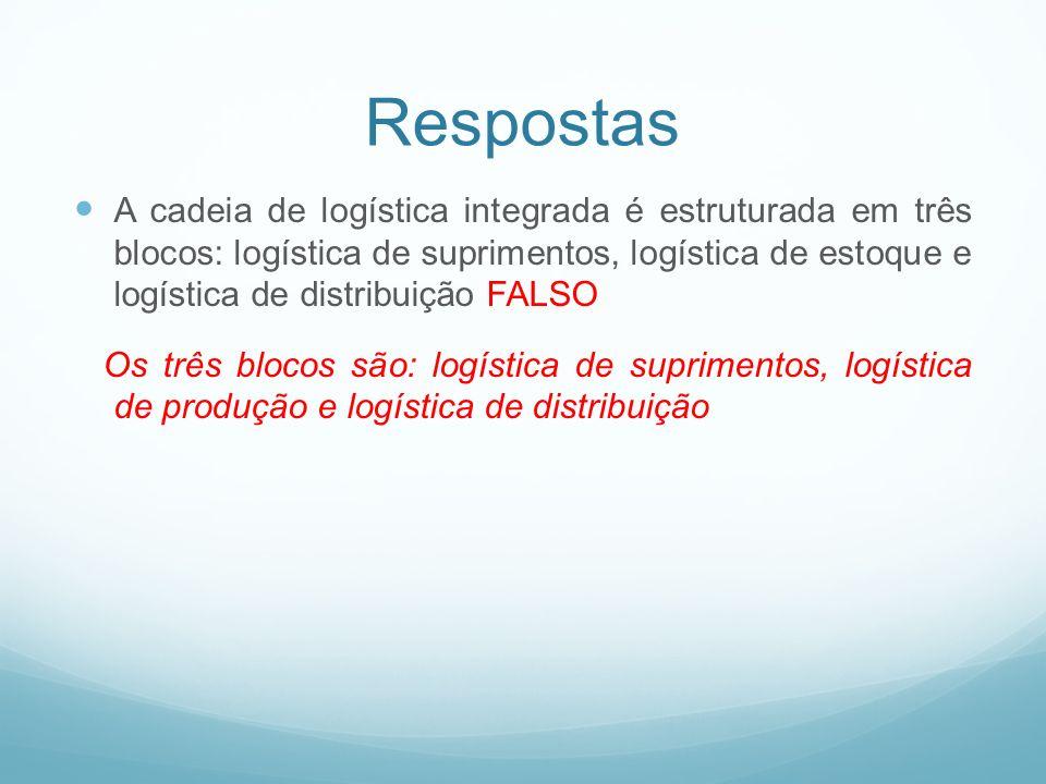Respostas A cadeia de logística integrada é estruturada em três blocos: logística de suprimentos, logística de estoque e logística de distribuição FAL