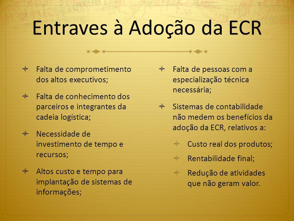 Entraves à Adoção da ECR Falta de comprometimento dos altos executivos; Falta de conhecimento dos parceiros e integrantes da cadeia logística; Necessi