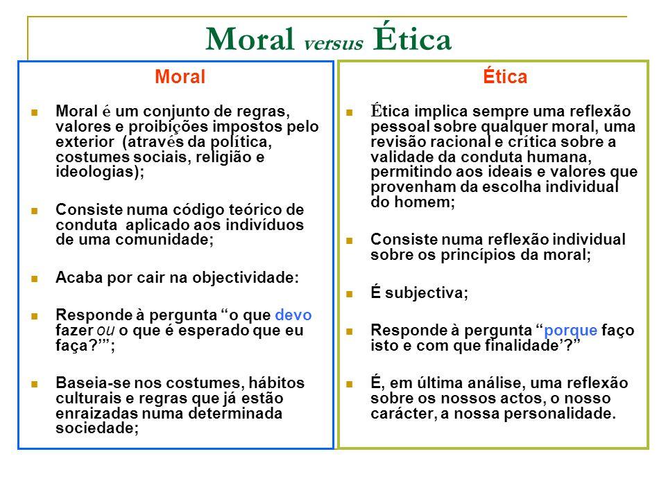 Moral versus Ética Moral Moral é um conjunto de regras, valores e proibi ç ões impostos pelo exterior (atrav é s da pol í tica, costumes sociais, reli