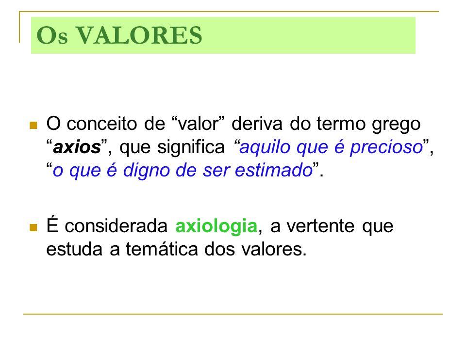 O conceito de valor deriva do termo gregoaxios, que significa aquilo que é precioso,o que é digno de ser estimado. É considerada axiologia, a vertente