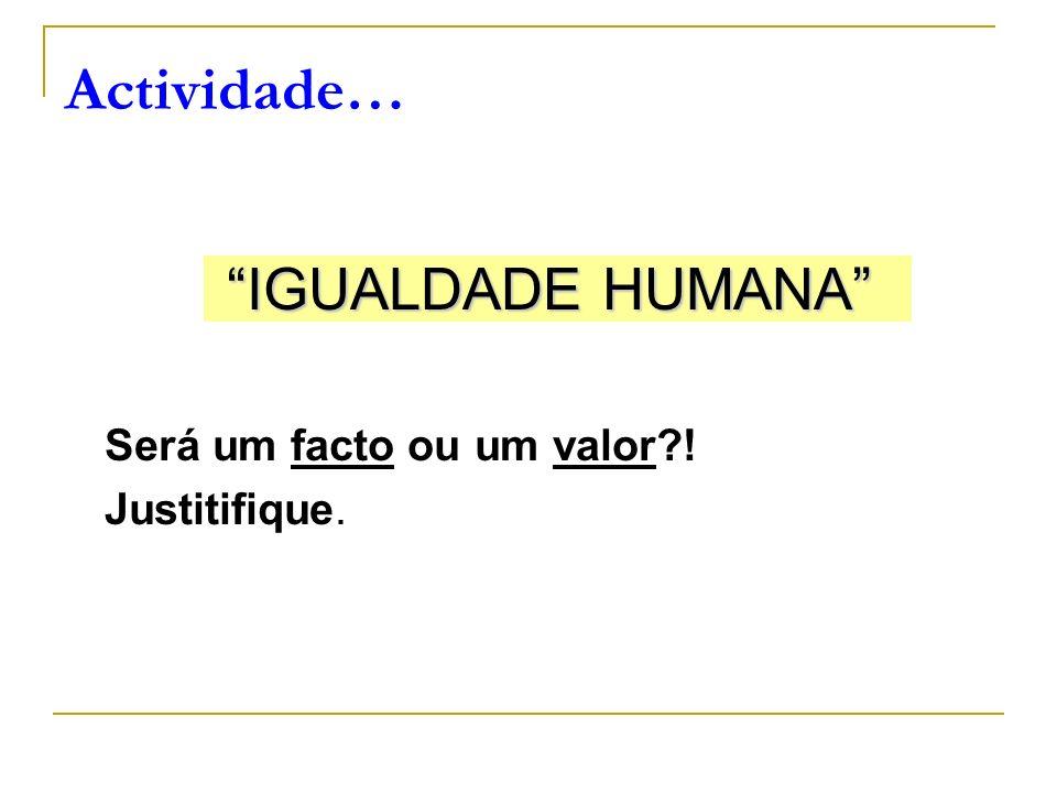 IGUALDADE HUMANA Será um facto ou um valor?! Justitifique. Actividade…