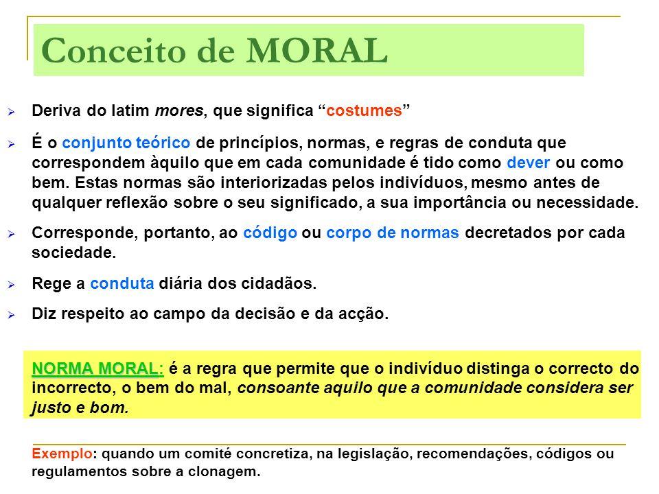 Deriva do latim mores, que significa costumes É o conjunto teórico de princípios, normas, e regras de conduta que correspondem àquilo que em cada comu