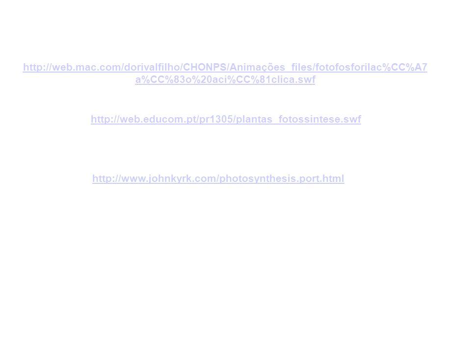 http://www.johnkyrk.com/photosynthesis.port.html http://web.educom.pt/pr1305/plantas_fotossintese.swf http://web.mac.com/dorivalfilho/CHONPS/Animações_files/fotofosforilac%CC%A7 a%CC%83o%20aci%CC%81clica.swf