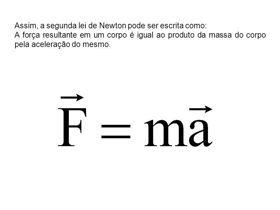 Assim, a segunda lei de Newton pode ser escrita como: A força resultante em um corpo é igual ao produto da massa do corpo pela aceleração do mesmo.