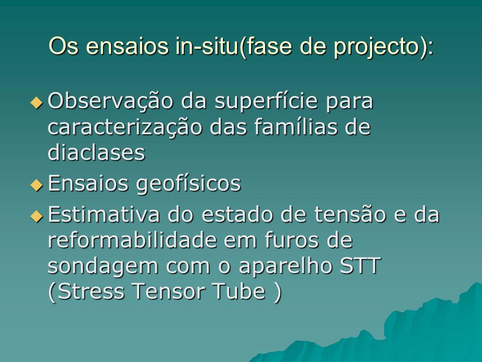 Os ensaios realizados: Na fase de projecto foram efectuados estudos para caracterizar o maciço geológica e geometricamente Na fase de projecto foram e