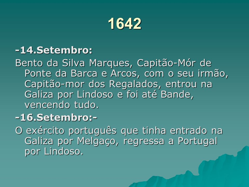 1641 -24.Agosto: Manuel Sousa Abreu, com outros nobres entrou na Galiza por Lindoso. -9.Setembro:- Manuel de Sousa, entrou com 1000 homens desbaratou
