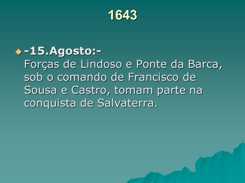 1642 -14.Setembro: Bento da Silva Marques, Capitão-Mór de Ponte da Barca e Arcos, com o seu irmão, Capitão-mor dos Regalados, entrou na Galiza por Lin